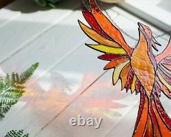 Suncathcer Stained Glass Window Hangings Flame Phoenix Firebird Cristmas Gift