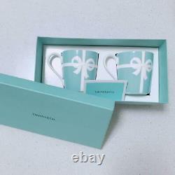 Tiffany & Co Blue Ribbon Pair Mug Cup Set Gift Box Limited from Japan Porcelain