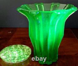 Vaseline Stolzle Bohemia Modernist Large 9 inch X 8 inch Glass w-Frog Vase 30's