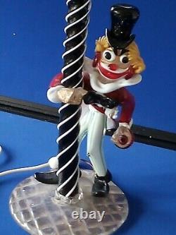 Vintage 1950's Serguso Murano Glass clown Lamp stunning and Rare 20 high