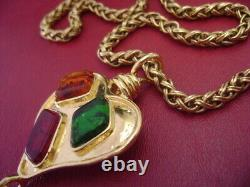 Vintage Chanel CC logos multi color poured glass chain necklace limited edition