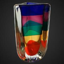 Vintage Murano Fulvio Bianconi Venini Vase Fasce Sommerse Triangular Vase 1992