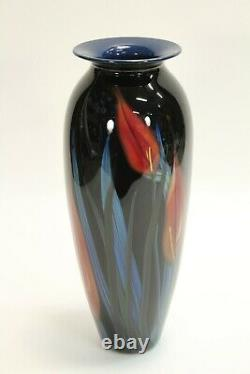 Vtg Rare 1999 Richard Rick Satava Art Glass Red Lily Flowers 15 Vase Signed
