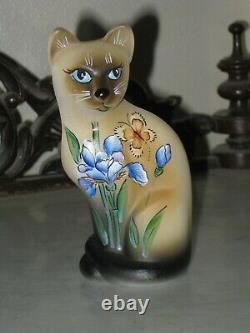 2020 Fenton Glass HP Blue Iris Siamese Stylized Cat Figurine Le #7/20