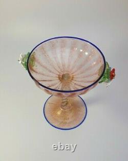Années 1890 Rare Antonio Salviati 24k Gold Glass Champagne Verre Fleurs Appliquées