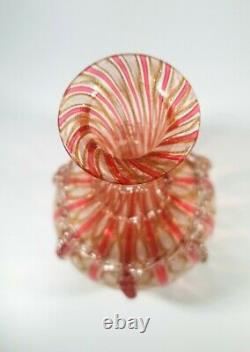 Antique Années 1930 Salviati Latticino/zanfirico & Cooper Aventurine Glass Decanter