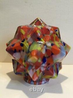 Antique Art Deco Cubist Multicolore Lampe En Verre Shade, Vers 1930, Tchécoslovaque