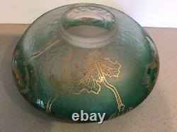 Antique Art Nouveau Français Art Glass Mont Joye Legras Gilt Floral Console Bowl