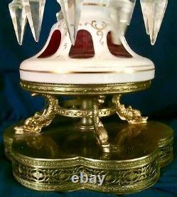 Antique Bohemian 18 Mantle Luster Lamp. Cut-to-cranberry Blanc, Prismes De Cristal