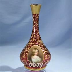 Antique Bohemian Moser Gold Leaf Cranberry Glass Lady Portrait Vase Circa 1900