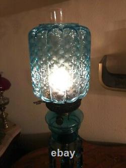 Antique Limited Edition Kerosene Lamp Blue Crystal Glass Hinks & Son 74 CM De Haut