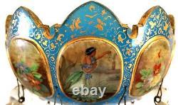 Antique Moser 15mantle Lustre, Bleu Et Or Avec Base Ormolu - Panneaux Émaillés