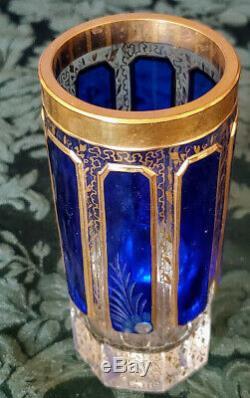 Antique Moser Cobalt Overlay 8 Cabochon Panneaux Cut Cristal Poli Et Or 20 De