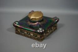 Art Nouveau Bohème Loez Kralik Glass Square Purple Iridescent Desk Inkwell