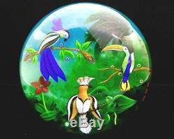 Baccarat Trois Oiseaux En Verre Art Lt Ed Footed Pacifique Paperweight, Avr 5.25hx5w