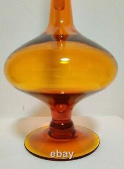 Blenko 6212l Tangerine Orange Wayne Husted Flame Stopper Footed Decanter Rare