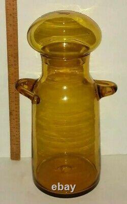 Blenko Art Glass Wheat 7327 Apothicaire Manipulé Jug Champignon Stopper Jar En Vente