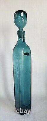 Blenko Wayne Husted Art Glass Decanter 5825s En Vert De Mer 1958-60 MCM