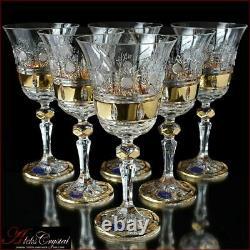 Bohême Cristal Verres À Vin 20 Cm, 220 Les Ml, Mona Liza Or 6 Pc Nouveau