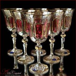 Bohême Cristal Verres À Vin 20 Cm, 220 Les Ml, Versale Rubin 6 Pc Nouveau