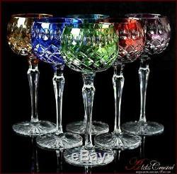 Bohème De Couleur Cristal Verres À Vin 21 Cm, 220 Ml, Jasmine 6 Pc Nouveau