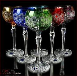 Bohème De Couleur Cristal Verres À Vin 21 Cm, 220 Ml, Jasmine Deluxe 6 Pc Nouveau