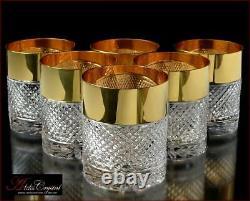 Bohemia Crystal Whiskey Glasses 10 Cm, 350 Ml, Versace Gold 6 Pc Nouveau