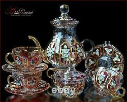 Bohemian Crystal Tea Set 300ml/1250ml, Versal Rubin 14 Pc Nouveau