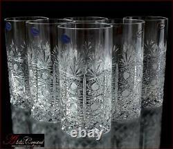 Bohemian Crystal Water Glasses 16 Cm, 300 Ml, Fleurs Froides 6 Pc Nouveau
