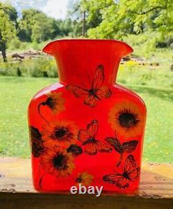 Bouteille D'eau De Verre Blenko Édition Limitée Fireball Red Hand Painted 384