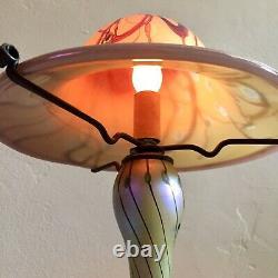 Carl Radke 16.5 Mushroom Lampe En Verre Atomic Hand Blown Iridescent Swirl Art