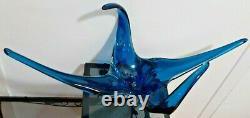 Chalet Lorraine Blown Art Glass Deep Blue Centre Pièce