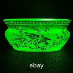 Circa 1880 Marqué Bohemian Vaseline Harrach Bowl Vase Gilt Enamel Birds & Flora