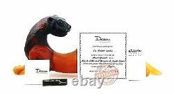 Daum Crystal Amazing Amber Huge 18 X 8 Ferret Ltd De 288 France Signé Box New