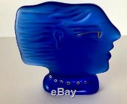Daum France Fassianos Bleu Cobalt Verre Profil Visage Bust 80 Vintage Cristal