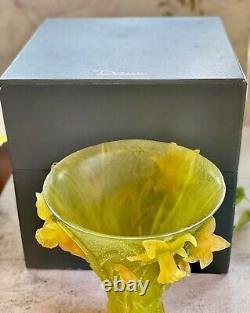 Daum Jonquille Jonquille Jonodils Grand Vase 9,75 Au Détail 4000 $ + Menthe Avec Boîte Et Papiers