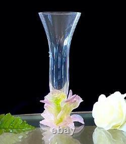 Daum Soliflor Rose Vase Pate De Verre Français Crystal Great Condition Signé