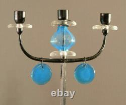 Erik Hoglund. Candélabre En Fonte Et Verre Bleu, Porte-bougies. Suède Années 60