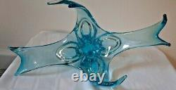 Extremely Rare Chalet Lorraine Art Glass Centre Pièce De 20 Pouces Translucide Blue