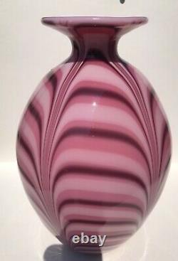 Fenton 1975 Robert Barber 12 Pouces Vase De Plume Hyacinthe. 76/450. Aucun Dommage
