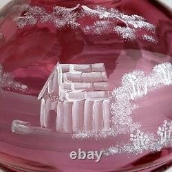 Fenton #99 Of #950 Cranberry Mary Gregory Lamp Boy And Dog Bubb Playing