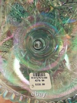 Fenton Aquamarine Hobstar Carnival Punch Bowl Set 4 Verres 2005 Platinum Aqua