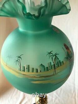 Fenton Art Glass Christmas Series 1998hand Painted Green Pillar Lamp