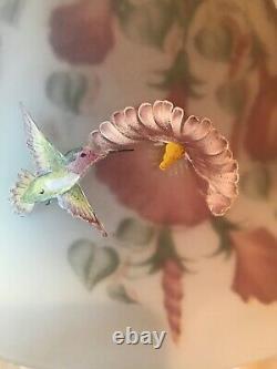 Fenton Art Glass Connoisseur Collection 1994 Lampe À Colibri Peinte À L'envers