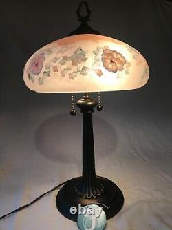 Fenton Art Glass Connoisseur Collection 1995 Lampe Florale Peinte À La Main