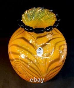 Fenton Art Glass Dave Fetty Cut Fleurs Blown Main Vase Édition Limitée