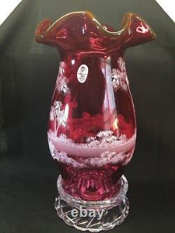 Fenton Art Glass Hand Peint Mary Gregory Cranberry Hurricane Lamp Ltd
