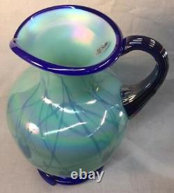 Fenton Art Glass Hanging Hearts On Willow Green Pitcher Dave Fetty Ltd