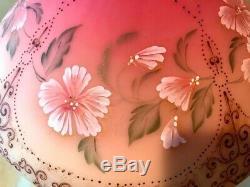 Fenton Art Glass Peint À La Main D'or Accented Lampe Birmane