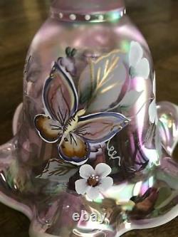 Fenton Bell Rose Iridescent Papillons Peints À La Main Et Fleurs Sauvages #7 De 1500